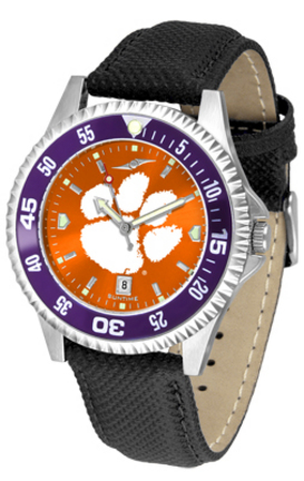Clemson Tigers Competitor AnoChrome Men's Watch with Nylon/Leather Band and Colored Bezel