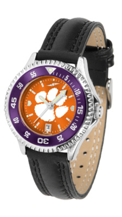 Clemson Tigers Competitor Ladies AnoChrome Watch with Leather Band and Colored Bezel