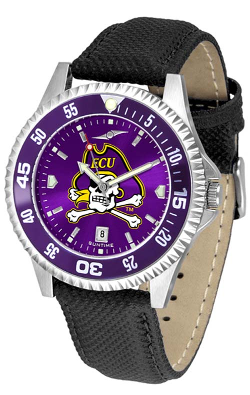 East Carolina Pirates Competitor AnoChrome Men's Watch with Nylon/Leather Band and Colored Bezel
