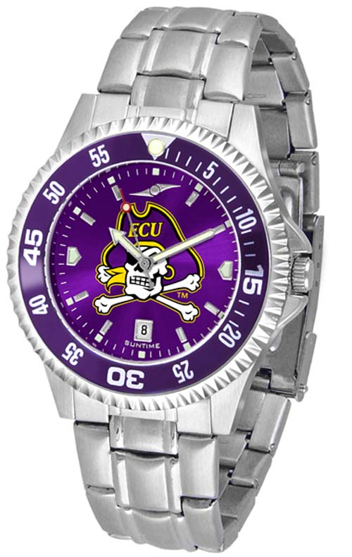 East Carolina Pirates Competitor AnoChrome Men's Watch with Steel Band and Colored Bezel
