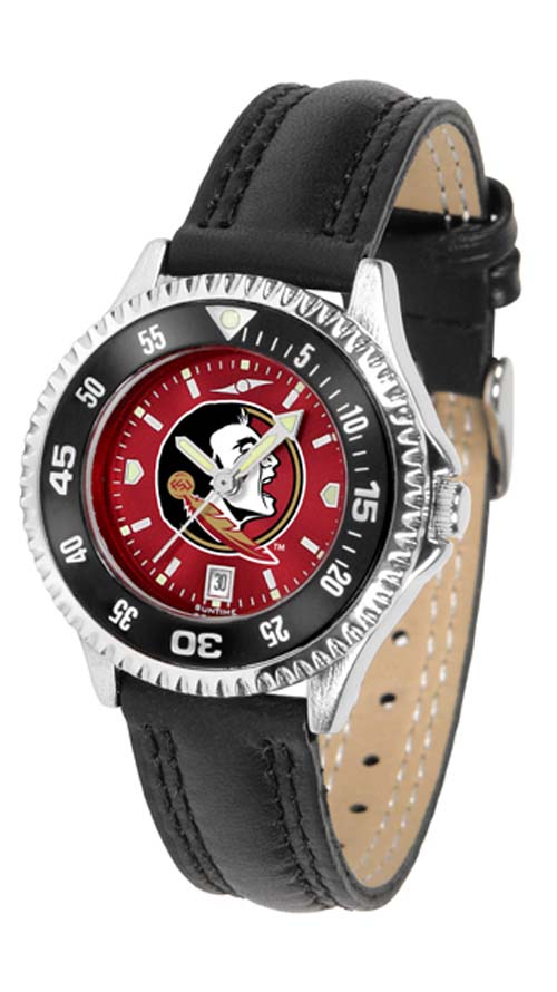 Florida State Seminoles Competitor Ladies AnoChrome Watch with Leather Band and Colored Bezel