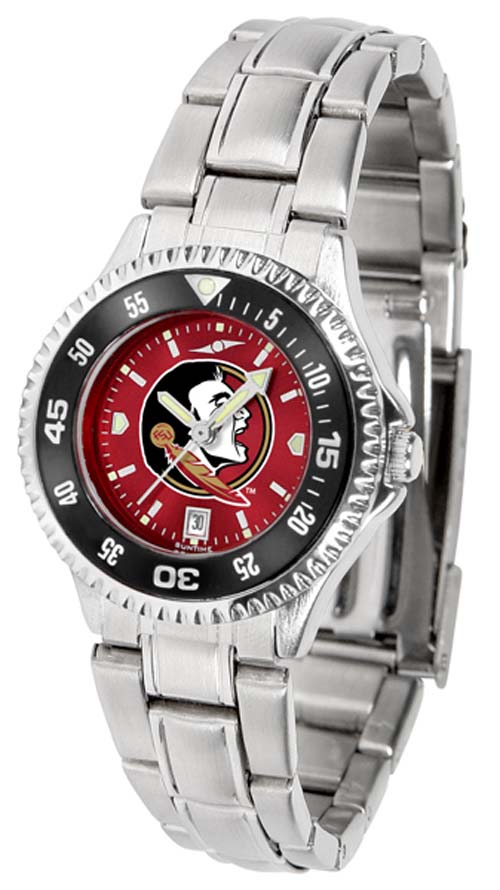 Florida State Seminoles Competitor AnoChrome Ladies Watch with Steel Band and Colored Bezel