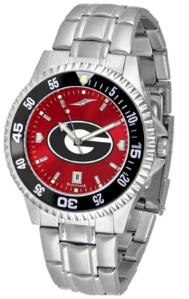 Georgia Bulldogs Competitor AnoChrome Men's Watch with Steel Band and Colored Bezel