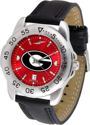Georgia Bulldogs Sport AnoChrome Men's Watch with Leather Band