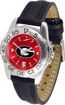 Georgia Bulldogs Sport AnoChrome Ladies Watch with Leather Band