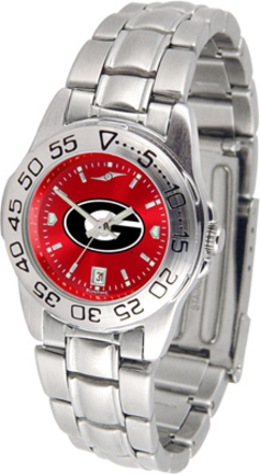 Georgia Bulldogs Sport AnoChrome Ladies Watch with Steel Band