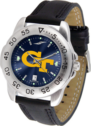 Georgia Tech Yellow Jackets Sport AnoChrome Men's Watch with Leather Band