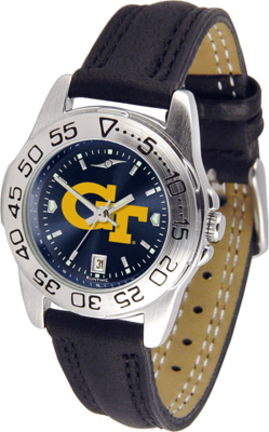 Georgia Tech Yellow Jackets Sport AnoChrome Ladies Watch with Leather Band