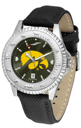 Iowa Hawkeyes Competitor AnoChrome Men's Watch with Nylon/Leather Band