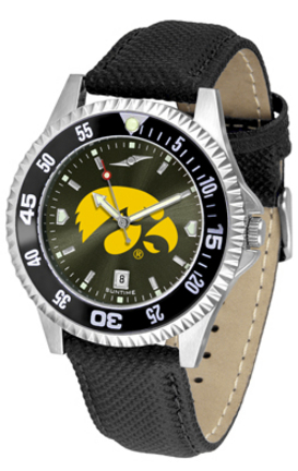 Iowa Hawkeyes Competitor AnoChrome Men's Watch with Nylon/Leather Band and Colored Bezel