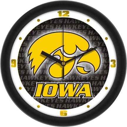 Iowa Hawkeyes 12 inch Dimension Wall Clock with Hawkeyes Background