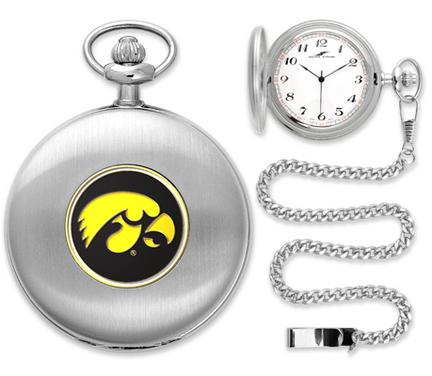 Iowa Hawkeyes Silver Pocket Watch