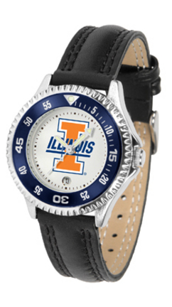 Illinois Fighting Illini Competitor Ladies Watch with Leather Band