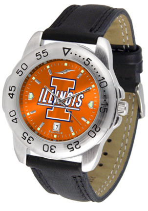 Illinois Fighting Illini Sport AnoChrome Men's Watch with Leather Band