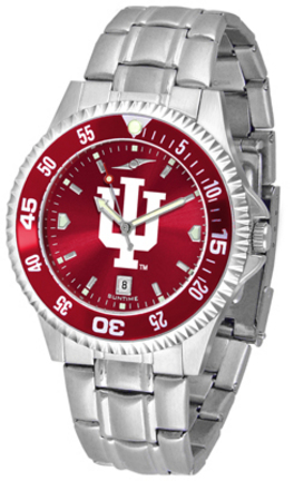 Indiana Hoosiers Competitor AnoChrome Men's Watch with Steel Band and Colored Bezel