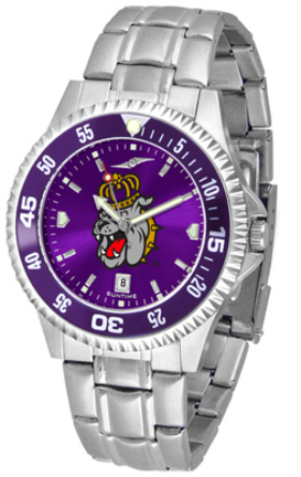 James Madison Dukes Competitor AnoChrome Men's Watch with Steel Band and Colored Bezel
