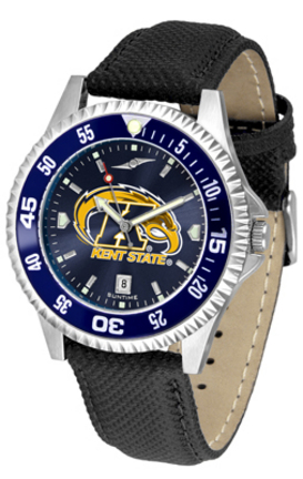Kent State Golden Flashes Competitor AnoChrome Men's Watch with Nylon/Leather Band and Colored Bezel