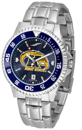 Kent State Golden Flashes Competitor AnoChrome Men's Watch with Steel Band and Colored Bezel