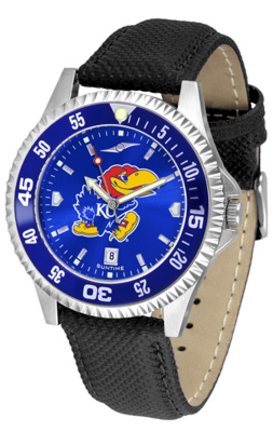 Kansas Jayhawks Competitor AnoChrome Men's Watch with Nylon/Leather Band and Colored Bezel