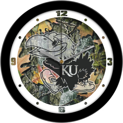Kansas Jayhawks 12 inch Camo Wall Clock