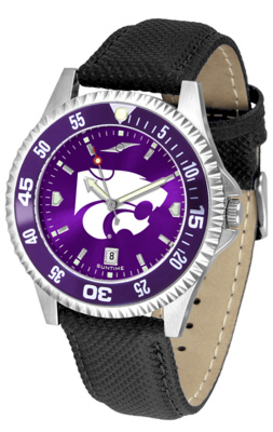Kansas State Wildcats Competitor AnoChrome Men's Watch with Nylon/Leather Band and Colored Bezel