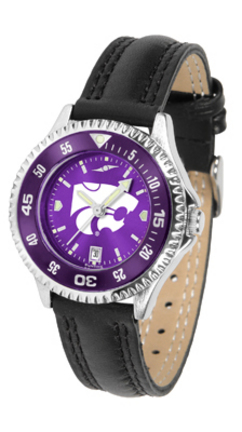 Kansas State Wildcats Competitor Ladies AnoChrome Watch with Leather Band and Colored Bezel