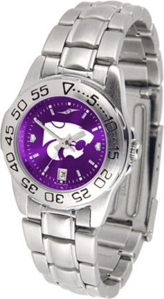 Kansas State Wildcats Sport AnoChrome Ladies Watch with Steel Band