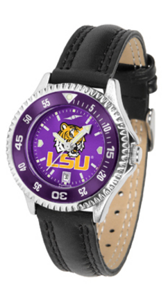 Louisiana State (LSU) Tigers Competitor Ladies AnoChrome Watch with Leather Band and Colored Bezel