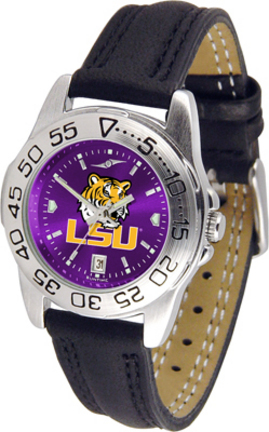 Louisiana State (LSU) Tigers Sport AnoChrome Ladies Watch with Leather Band