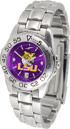 Louisiana State (LSU) Tigers Sport AnoChrome Ladies Watch with Steel Band