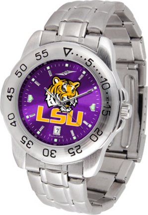 Louisiana State (LSU) Tigers Sport Steel Band Ano-Chrome Men's Watch