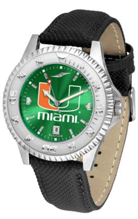 Miami Hurricanes Competitor AnoChrome Men's Watch with Nylon/Leather Band