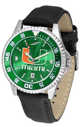 Miami Hurricanes Competitor AnoChrome Men's Watch with Nylon/Leather Band and Colored Bezel