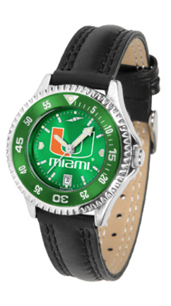 Miami Hurricanes Competitor Ladies AnoChrome Watch with Leather Band and Colored Bezel