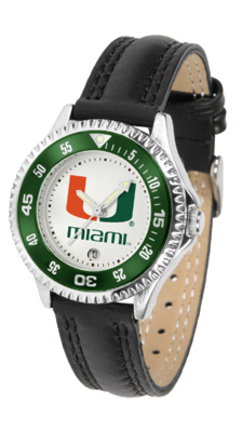 Miami Hurricanes Competitor Ladies Watch with Leather Band