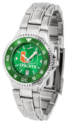 Miami Hurricanes Competitor AnoChrome Ladies Watch with Steel Band and Colored Bezel