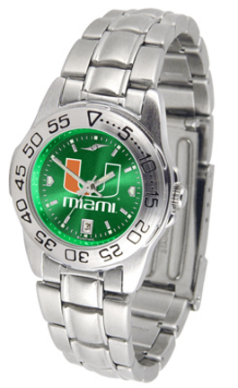Miami Hurricanes Sport AnoChrome Ladies Watch with Steel Band