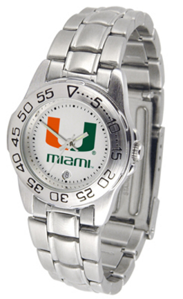Miami Hurricanes Gameday Sport Ladies' Watch with a Metal Band