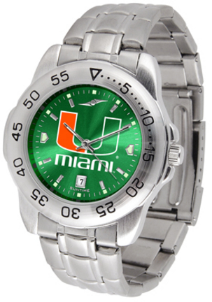 Miami Hurricanes Sport Steel Band Ano-Chrome Men's Watch