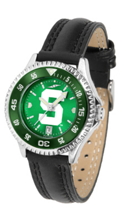 Michigan State Spartans Competitor Ladies AnoChrome Watch with Leather Band and Colored Bezel