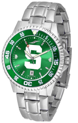 Michigan State Spartans Competitor AnoChrome Men's Watch with Steel Band and Colored Bezel
