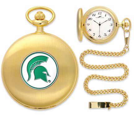Michigan State Spartans Gold Pocket Watch