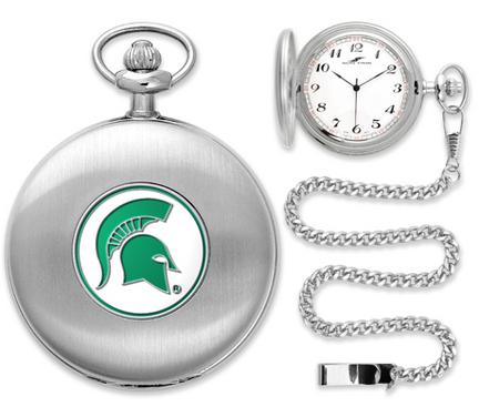 Michigan State Spartans Silver Pocket Watch