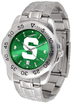 Michigan State Spartans Sport Steel Band Ano-Chrome Men's Watch