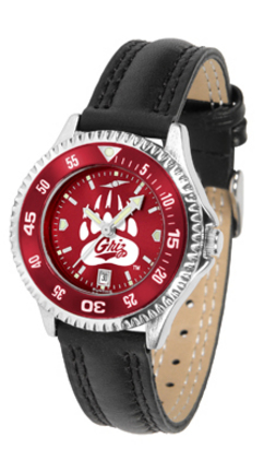Montana Grizzlies Competitor Ladies AnoChrome Watch with Leather Band and Colored Bezel