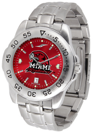 Miami  RedHawks Sport Steel Band Ano-Chrome Men's Watch