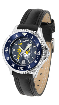 Navy Midshipmen Competitor Ladies AnoChrome Watch with Leather Band and Colored Bezel