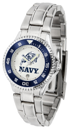 Navy Midshipmen Competitor Ladies Watch with Steel Band