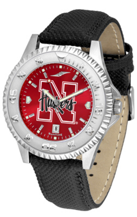 Nebraska Cornhuskers Competitor AnoChrome Men's Watch with Nylon/Leather Band