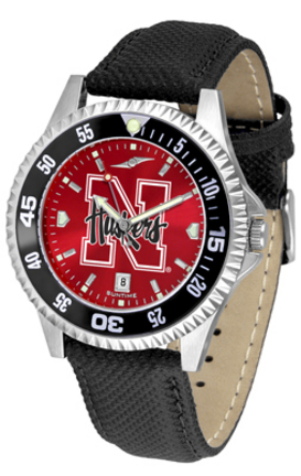 Nebraska Cornhuskers Competitor AnoChrome Men's Watch with Nylon/Leather Band and Colored Bezel